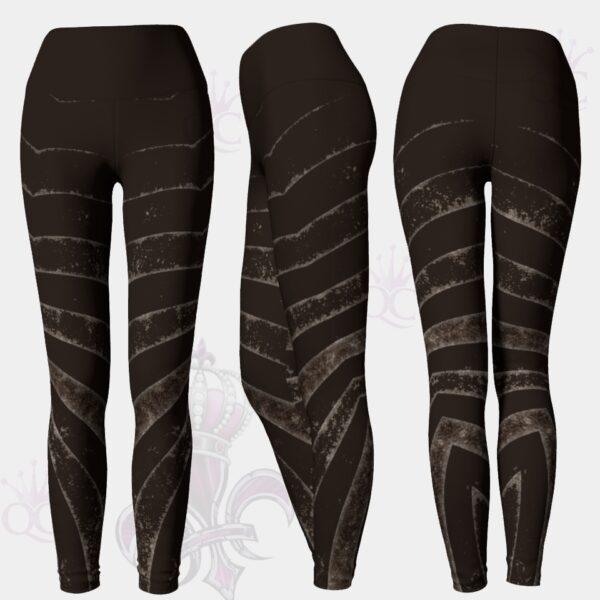Gray Zebra Stripes Black Yoga Leggings Pants