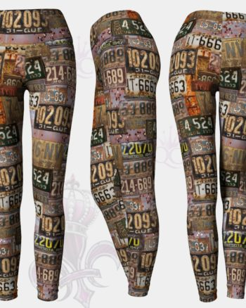 Old Rusted License Plate Yoga Leggings Pants