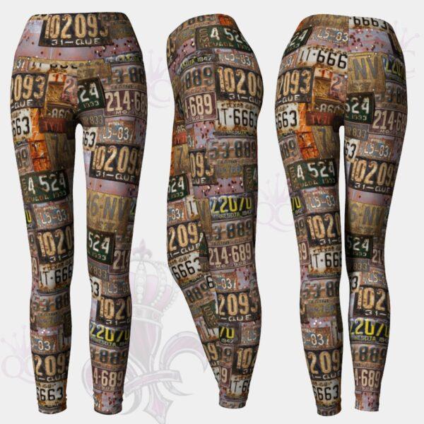 Old Rusted License Plate Yoga Leggings Pants