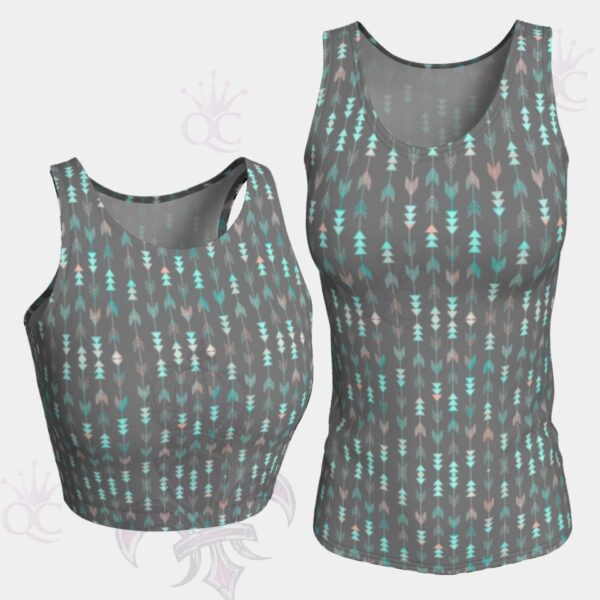Arrows Grey Turquoise Pink Top Group