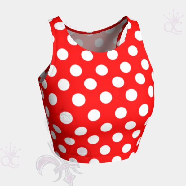 Red White Polka Crop Top Front