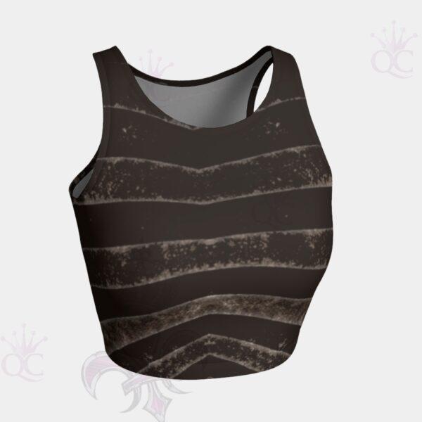 Black Silver Zebra Crop Top Front