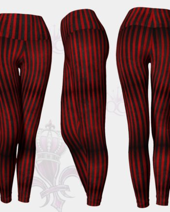 Circus Black Red Stripes Leggings