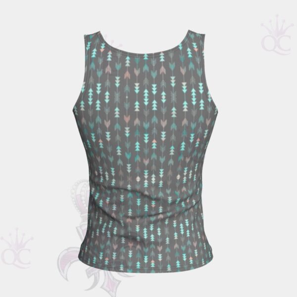 Arrows Grey Turquoise Short Tank Top Back