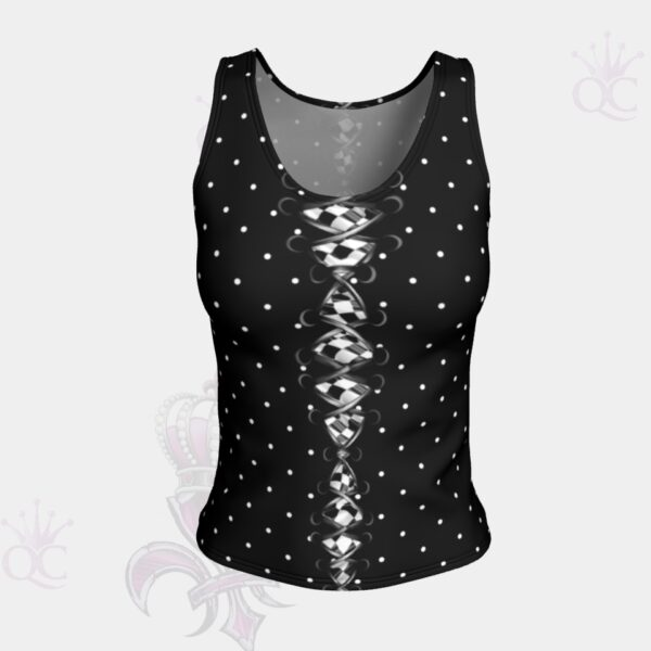 Black Laces Checkered Flag Short Tank Top Front