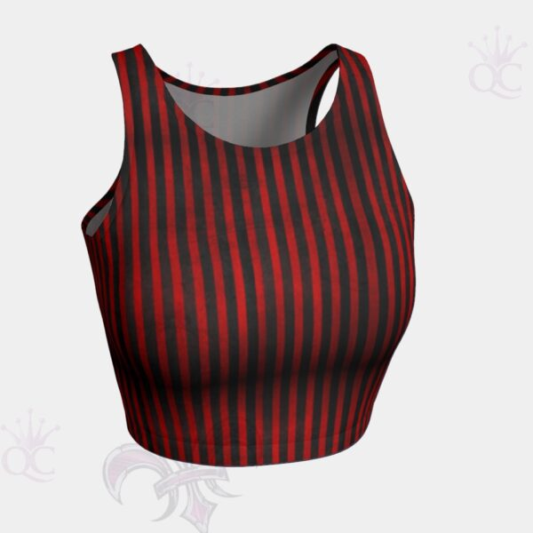 Circus Red Black Stripes Front View Crop Top