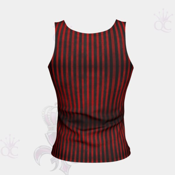 Circus Red Black Stripes Short Tank Top Back