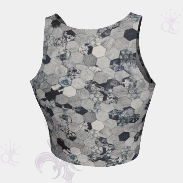 Grey Octagons Crop Top Back