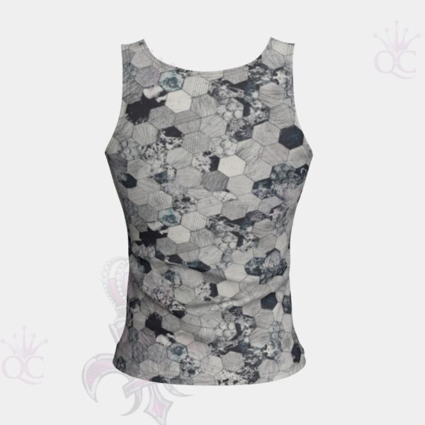 Octagons Grey Short Tank Top Back