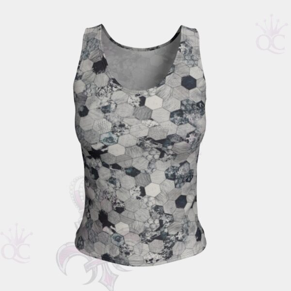 Octagone Grey Short Tank Top Front