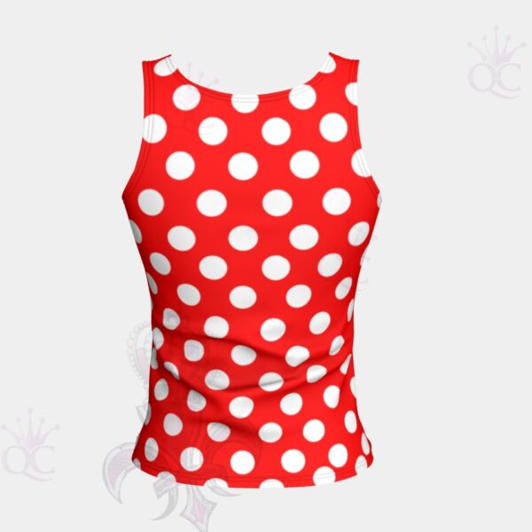 White Polka Dots Red Short Tank Top Back