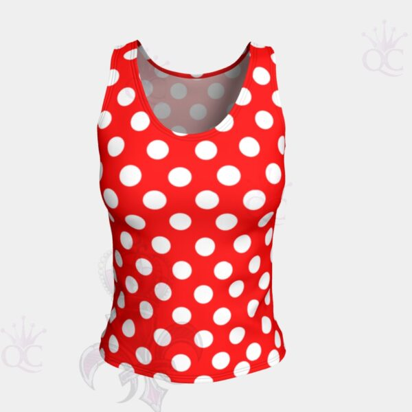 White Polka Dots Red Short Tank Top Front