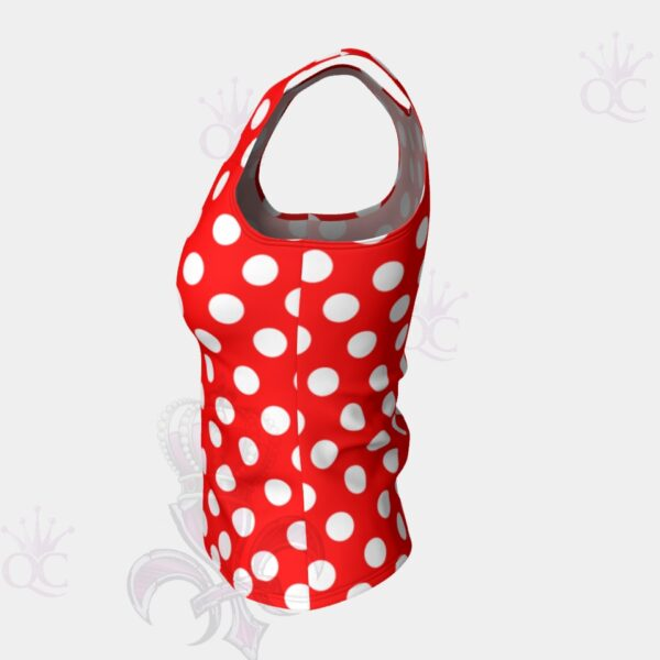 White Polka Dots Red Short Tank Top Side