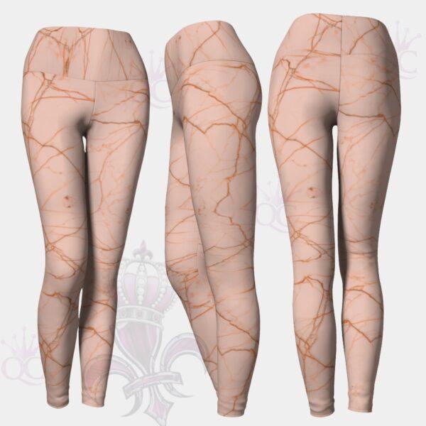 Pink Marble Leggings Yoga Pants Center