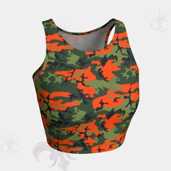 Camo Orange Green Crop Top