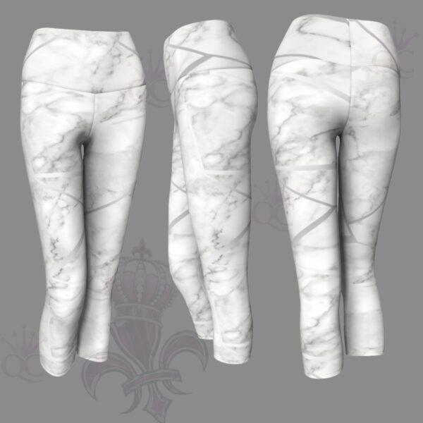 Silver White Marble Capris