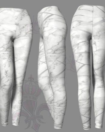 Silver White Marble Leggings