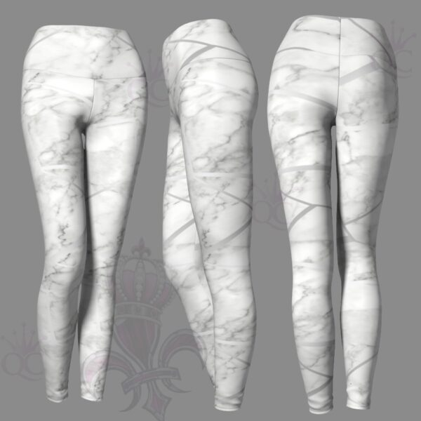 Silver White Marble Leggings