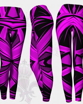 Purple Pink Black Abstract Leggings