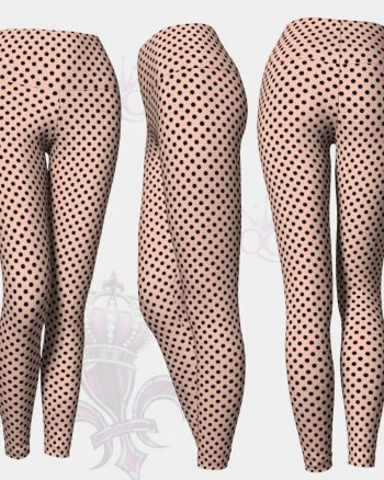Black Polka Dots Pink Leggings
