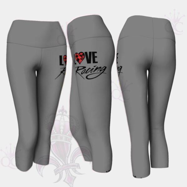 Love Racing Gray Yoga Capris