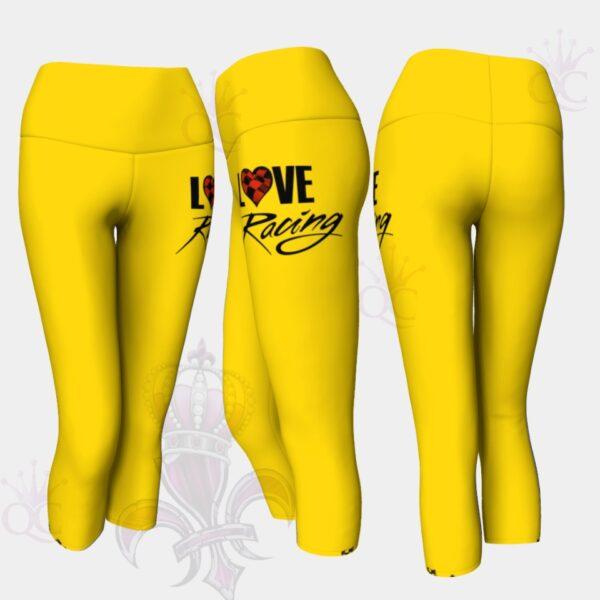 Love Racing Yellow Yoga Capris