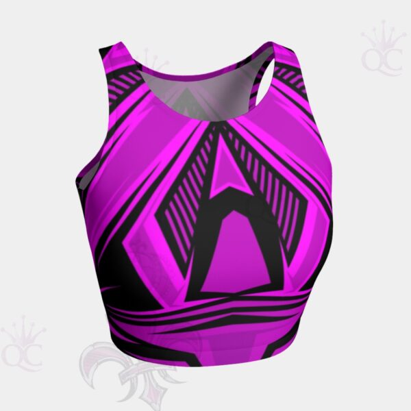 Purple Pink Black Abstract Crop Top Front