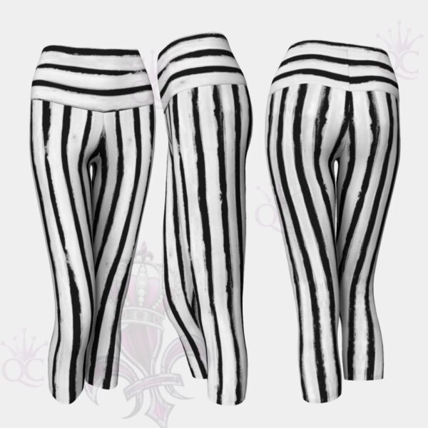 Beetle Juice Black White Capris