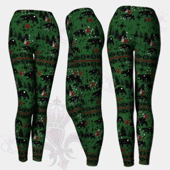 Winter Wild Life Green Leggings