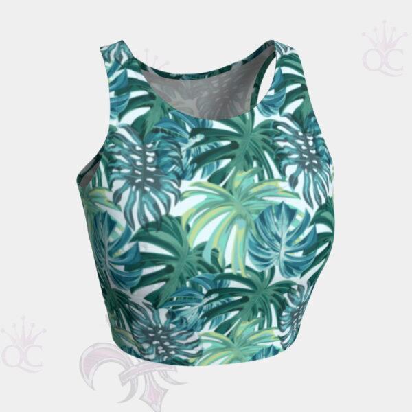 Teal Green Tropical Foliage Crop Top