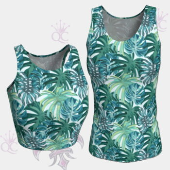 Teal Green Tropical Foliage Tops